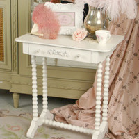 SOLD Pretty Shabby Rose Single Drawer Side Table - $295 - The Bella Cottage