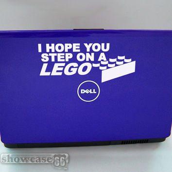 I Hope You Step On A Lego - Vinyl Laptop Art - FREE Shipping - Fun Lego Inspired Decal