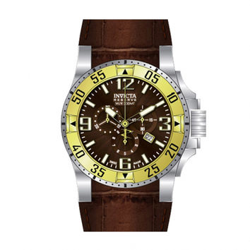 Invicta 10906 Men's Reserve Excursion Gold Tone Bezel Brown Textured Dial Chronograph Brown Leather Strap Dive Watch