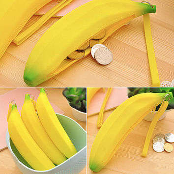Coin Purse Pencil Case Portable Novelty Cute Banana Silicone Pen Bag Wallet Pouch 8OMI