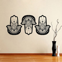 Hamsa Wall Decal Vinyl Sticker Decals Home Decor Hamsa Hand Fish Eye Indian Buddha Yoga Fatima Ganesh Lotus Patterns Art Bedroom Dorm T107
