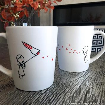 Catch My Love Too™ His and Hers Couples Coffee Mugs-Cute Valentines Gifts for Girlfriend,Boyfriend Girlfriend Gifts,Him and Her Gifts,Couples Gifts for Anniversary,Wedding,Birthday