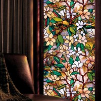 Magnolia Stained Glass Window Film - Window Film - Art Glass Windows - Home Decor | HomeDecorators.com