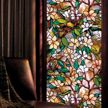 glass window decorations diy magnolia stained glass window film art win shop decorations on wanelo
