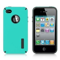 Amazon.com: TURQUOISE / BLACK TPU Fusion Hard Plastic Anti-Slip Case for Apple iPhone 4 / 4S [In Twisted Tech Retail Packaging]: Cell Phones & Accessories