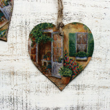 1 heart ornament rustic cottage chic shabby chic kitchen decor Provence France Italy Toscana medeterrnean
