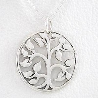 "Round Cut Out Design Tree of Life Pendant in Sterling Silver on an 18"" Box Chain, #8458"