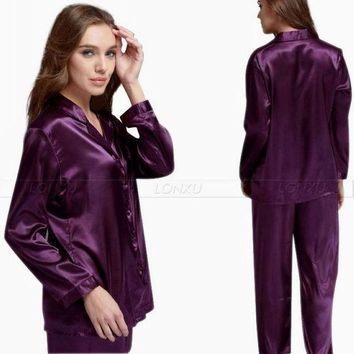 Gift  Womens Silk Satin Pajamas Set  Pajama Pyjamas Set  Pjs  Sleepwear  Loungewear Smlxl2xl3xl  Solid  Plus