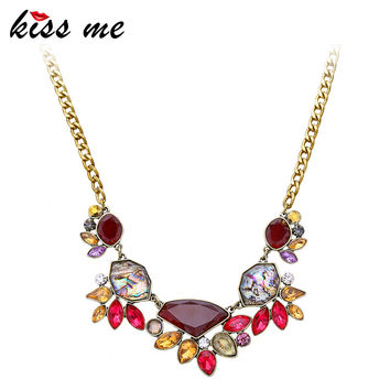 KISS ME Jewelry Factory 2016 Elegant Gold Color Chain Rhinestone Necklace Women Fashion Shourouk Statement Necklaces Pendants