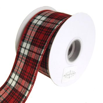 Cabin Natural Woolen Plaid Wired Holiday Christmas Ribbon, Red/Black, 2-1/2-Inch, 10 Yards