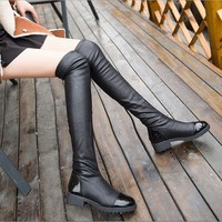 Boots  Autumn Winter Ladies Fashion Slim Flat Heel Leather Boots Shoes Over The Knee Thigh High Long Boots