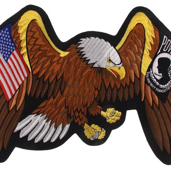 USA POW MIA Eagle Flag Patch Not Forgotten Patriot Embroidered Rider Military