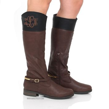 Monogrammed Brown with Black Trim Two Tone Riding Boots | Footwear | Marley Lilly