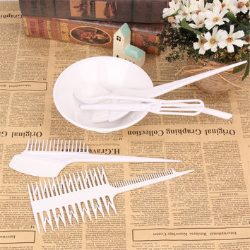 6Pcs/Set Professional Hair Combs Kits Hairdressing Hair Dye Color Bowl Color Mixing Comb Hairbrush Hair Care Styling Tools Set