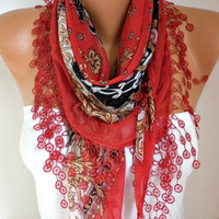 Spring Red Floral Scarf Cotton Scarf Oversize Scarf Necklace Cowl Scarf Gift Ideas for Her Women Fashion Accessories Mother's Day Gift