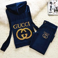Gucci New pleuche velvet casual wear tracksuit cultivate one's morality Navy blue