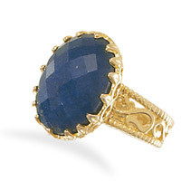 14 Karat Gold Plated Faceted Oval Rough-Cut Sapphire Ring