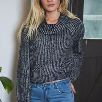 Black Stripe Turtleneck Knitted Sweater