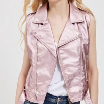 New popular lapel PU leather short slim vest girl