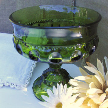 Kings Crown Thumbprint Indiana Glass Green Compote