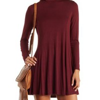Burgundy Jersey Knit Turtleneck Shift Dress by Charlotte Russe