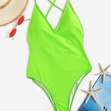Neon Lime Criss Cross Backless One Piece Swim
