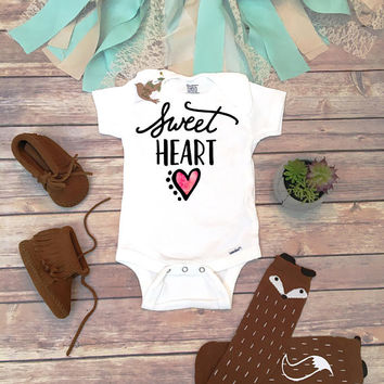 Sweetheart Onesuit®, Cute Valentines Day Onesuit, Heart Shirt, Valentines Baby Bodysuit, Valentines Day Shirt, Heart Onesuit, Baby Girl Clothes