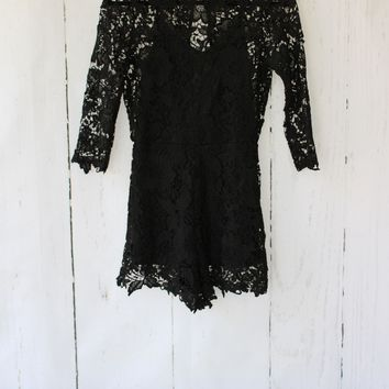 Lace Crochet Open Back Romper - Black