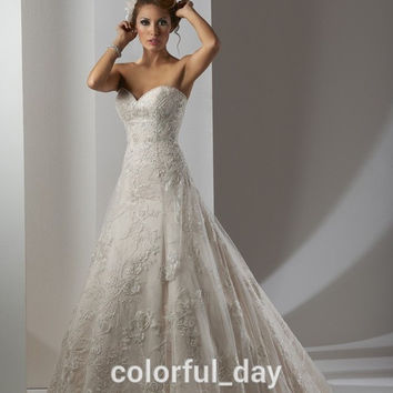 Sexy Sweetheart Beige Lace Romantic Wedding Dresses New Arrival 2015 Lace Up Back Bridal Gown for Women