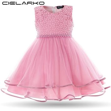Cielarko Baby Girls Dress Pearls Mesh Infant Party Dresses Vintage Newborn Prom Gowns Toddler Birthday Wedding Frocks for Girl