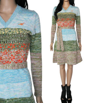 70s Arpeja Knit Sweater Dress Long Sleeve Ombre Field Nature Print Fit and Flare Boho Chic Hipster Vintage Clothing Womens Size Small Medium