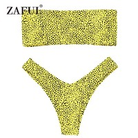 ZAFUL Bikini Swimwear Leopard Print Thong Bandeau Bikini Women High Cut Swimsuit Sexy Bathing Suit Strapless Bikini Brazilian