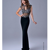 Nina Canacci 7526 Sexy Black Cap Sleeve Gown  2015 Prom Dresses