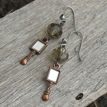 Mirror Earrings Steampunk Earrings Alice in by InkandRoses13
