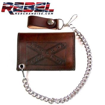 Antique Tooled Rebel Flag Wallet (wallet019)