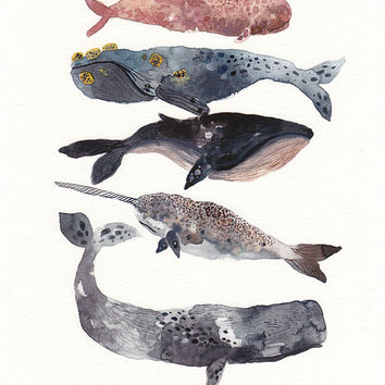 Five Whales Stacked Large Archival Print by unitedthread on Etsy