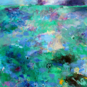 "Large Abstract Acrylic Landscape, Original Artwork, Painting on Canvas, Blue, Green, ""Meadow Storm"" 30x40"