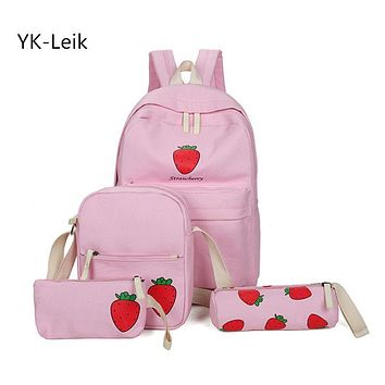 YK-Leik 2017 Large-capacity multi-purpose combination schoolbags High quality canvas school bag for girls fashion lady backpacks