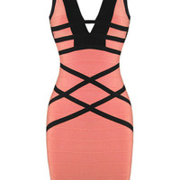 Sexy V Neck Black and Pink Bandage Dress