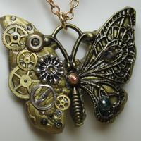 Steampunk Necklace Gold Bronze Butterfly
