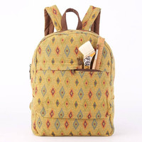 Everyday Backpack Yellow Ethno Student Backpack Rustic Women's backpack, Vegan Backpack Minimalism, Rustic, Folk,