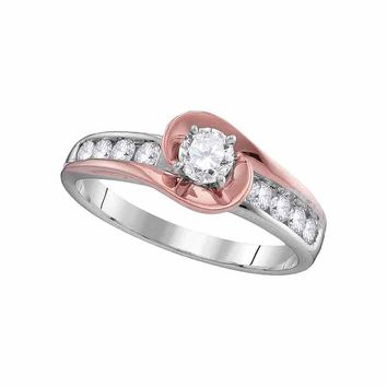 14kt White Gold Womens Round Diamond Solitaire Rose-tone Swirl Bridal Wedding Engagement Ring 5/8 Cttw