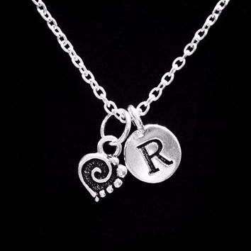 Choose Initial, Spiral Heart Valentine Gift Wife Mom Girlfriend Love Necklace