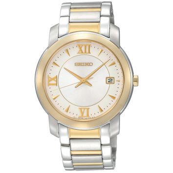 Seiko SGEE96 Men's Dress Gold Tone Bezel White Dial Two Tone Bracelet Watch