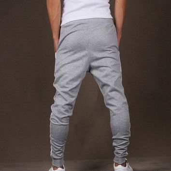 Mens Casual Jogger workout Pants Harem Dance Skinny Sweat Pants Trousers S-XL