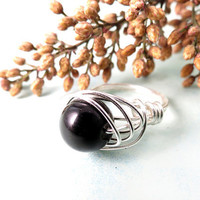 Black Agate Onyx Wire Wrap Ring
