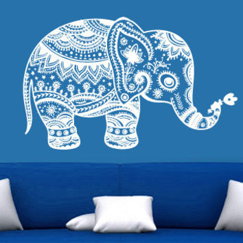 Wall Decal Vinyl Sticker Decals Art Decor Design Mural Baby Elephant  Ganesga  Mandala Tribal Buddha Karma India Dorm Bedroom Dorm (r1098)
