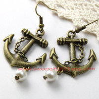 anchor earring, Vintage Anchor earring with white pearl
