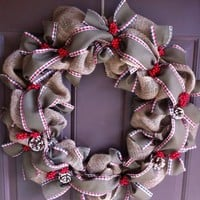 Burlap Christmas Wreath for Front Door Holiday