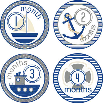 Monthly Baby Milestone Stickers Baby Boy One-Piece Baby Stickers Monthly Baby Stickers Baby Month Stickers Sailing Sailboat Blue Grey